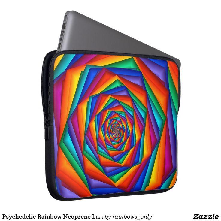"Psychedelic Rainbow Neoprene Laptop Sleeve 15"""