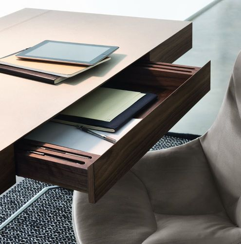 Contemporary desk / walnut / steel MAESTRALE by Ludovica & Roberto Palomba Zanotta