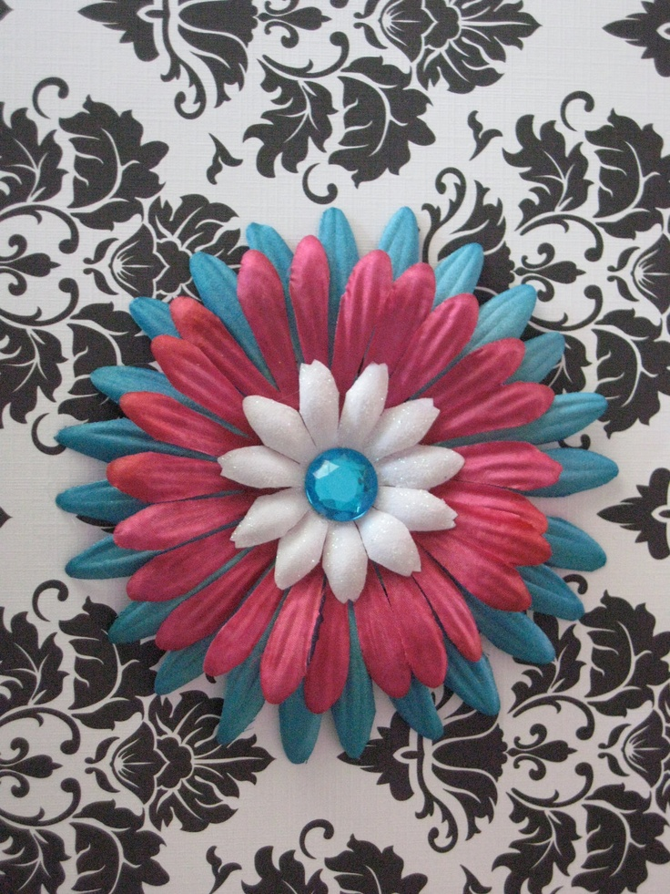 Teal and Fuschia Pink Fall Daisy Flower Hair Clip. $4.00, via Etsy.