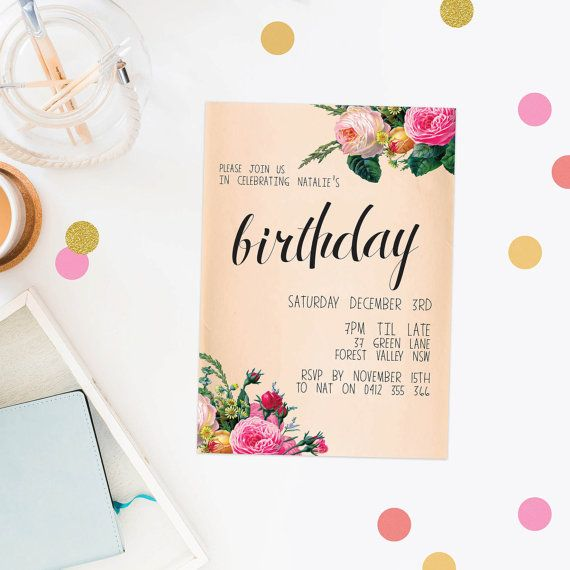 633 best sail and swan wedding invitations images on pinterest birthday invitation floral peach birthday invite by sailandswan solutioingenieria Choice Image