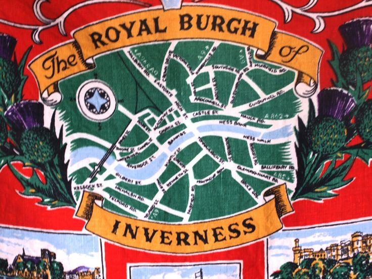 The Royal Burgh of Inverness Scotland Tea Towel - 60s Old Bleach Linen Tea Towel - Scottish Heritage Tea Towel - by FunkyKoala on Etsy