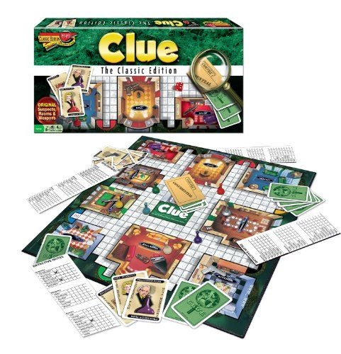 The suspects you know in the mansion you remember with the weapons you love. Ages 8 and Up. 3-6 Players. Game board. 6 suspect tokens. 6 weapons. Deck of suspect. Weapon and room cards. Confidential...