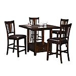 "Add character and charm to your home with the Montgomery 5-Piece Drop-Leaf Counter-Height Dinette!  Premium all-wood construction.  Features a beautiful pine finish.  Includes a Marble Lazy Susan.  This 5-piece package includes 60"" round drop-leaf Counter-Height Table and four upholstered Stools.  View our wide assortment online or visit a store close to home.    SKU: 1325825 - Montgomery 5-PC Dinette   Counter Stool - 19""W x 20""D x 43""H  Table - 60""W x 60""D x 36""H"
