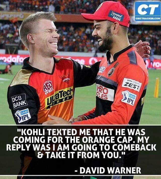 @virat.kohli and @davidwarner31 are taking off each other's Orange cap thus far in the season. #ipl2016 #royalchallengersbangalore #sunrisershyderabad #kohli #warner by crictracker
