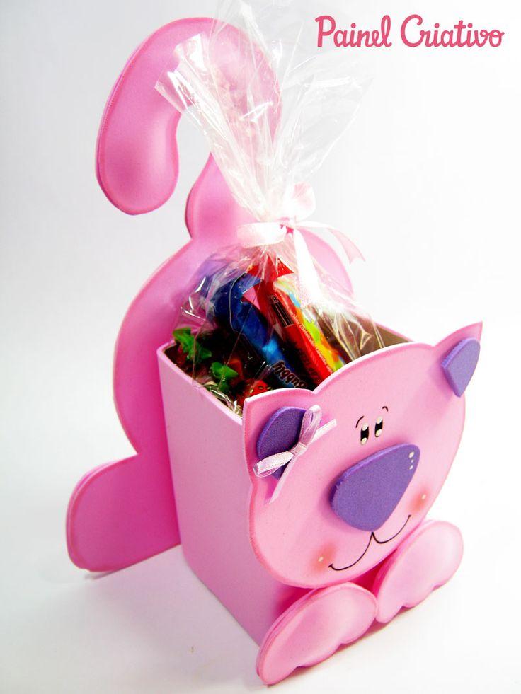 Como fazer lembrancinha EVA caixinha de leite dia das crianças aniversario infantil porta guloseima da gatinha