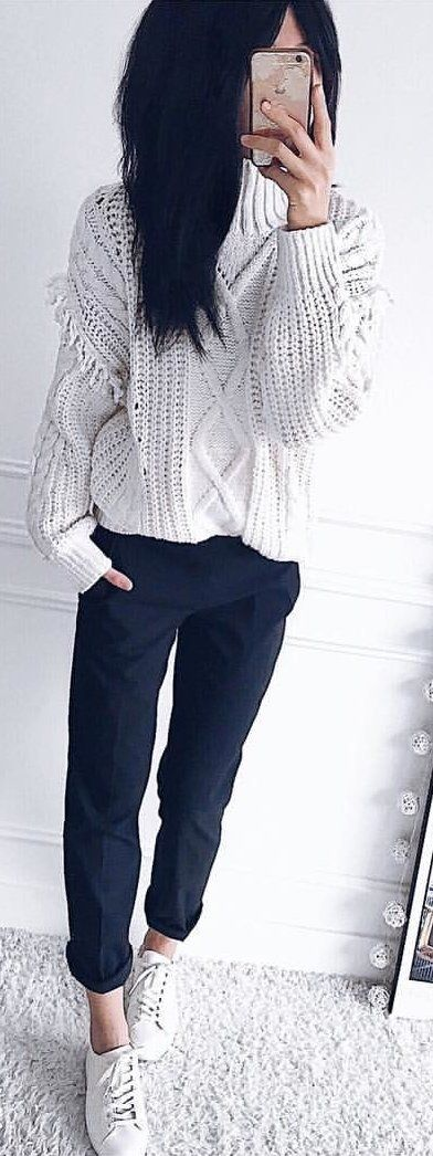 #winter #outfits white knit sweater and black pants