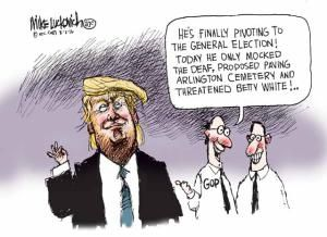 A roundup of funny and provocative cartoons by the nation's top cartoonists.: Trump Pivoting