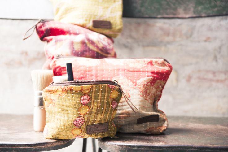 Tribeca Vintage Kantha Cosmetic Bag #quotebybirkholm #vintage #vintagesari #indiantextiles #kanthaquilt #interior #interiør #scandinaviskinteriør #scandinavianinterior #upcycle #urbangarden