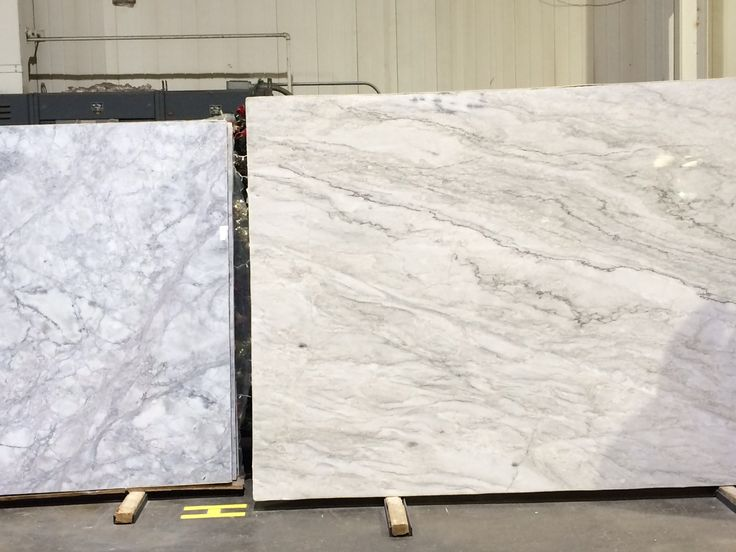 Super white quartzite (left) vs. white pearl quartzite (right). Cooler vs. warmer - whichever you prefer