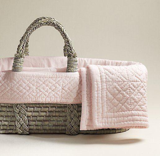 Heirloom Quilted Voile Moses Basket Bedding & Ash Basket Set