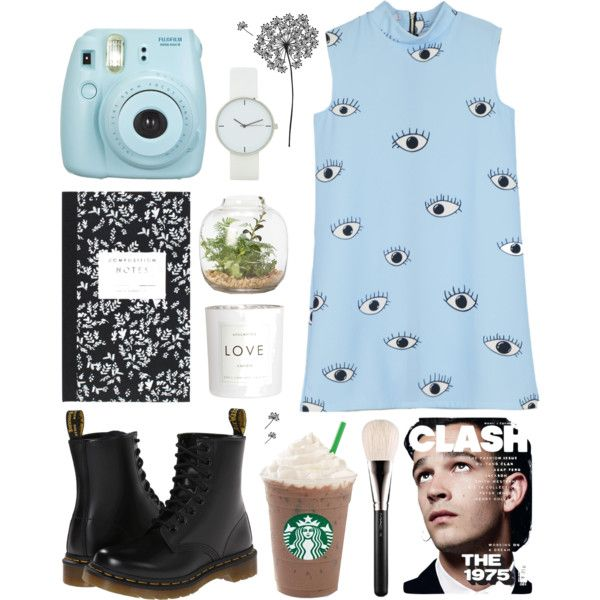 baby blue by kjllic on Polyvore featuring polyvore fashion style Dr. Martens MAC Cosmetics jcp Dot & Bo H&M