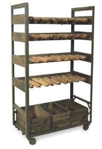 An urban living furniture collection.  Our Vintage industrial style Harlem wine rack on wheels will make a great addition to an industrial chic Kitchen or dining room. Featuring 4 shelves for ample stoage of bottles and 3 lower boxes to use how you wish!