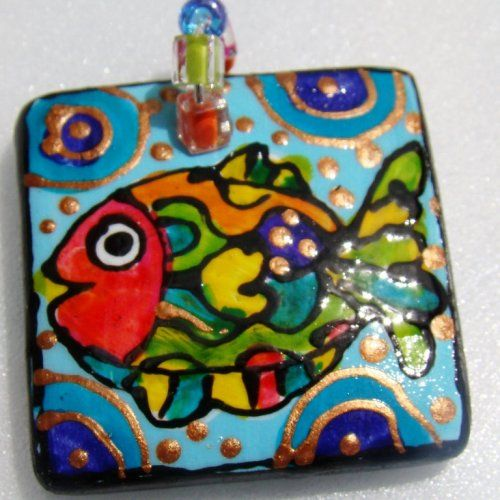 WEAR IT! WEAR THE ART!  ****WHIMSICAL FUN PENDANT*****  Painted Tropical fish pendant___Inspired by our tropical fish snorkel trip to the Kerama Islands.  Description: TROPICAL FISH Beach theme Hand P