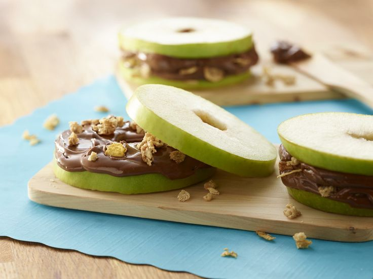 Crunchy Apple Chocolate Peanut Butter Slices - Have you tried our SKIPPY Natural Peanut Butter Spread with Dark Chocolate yet? Now you can have the best of both worlds! Grab a jar  make this delicious #snack.