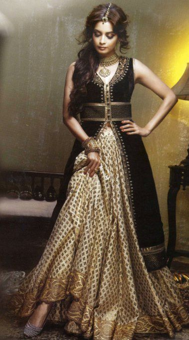 Black, white and gold lehenga