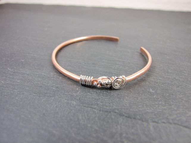 Copper Bangle with Sterling Silver Wire Wrapping & Decoration