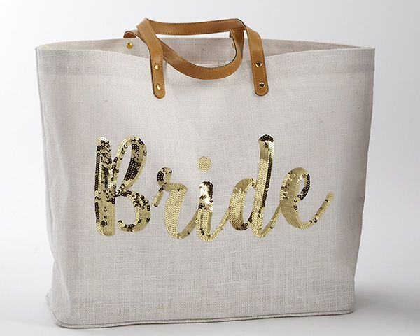 Give your bride the perfect gift for her bridal shower with this adorable tote! | Bride Sequin Jute Tote Bag