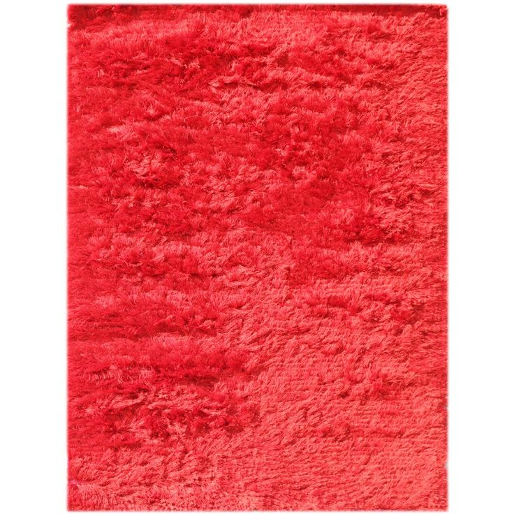 Pacifica Red Shag Rug (3' x 5') (Red), Size 3' x 5' (Cotton, Solid)