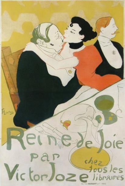 HENRI DE TOULOUSE-LAUTREC (1864-1901) «Reine de Joie» par Victor Joze chez tous les Libraires. Rare et exceptionnelle affiche entoilée et encadrée. Imprimerie Ancourt. Vers 1892. Condition B+. Dimensions:… - Aguttes - 22/06/2012