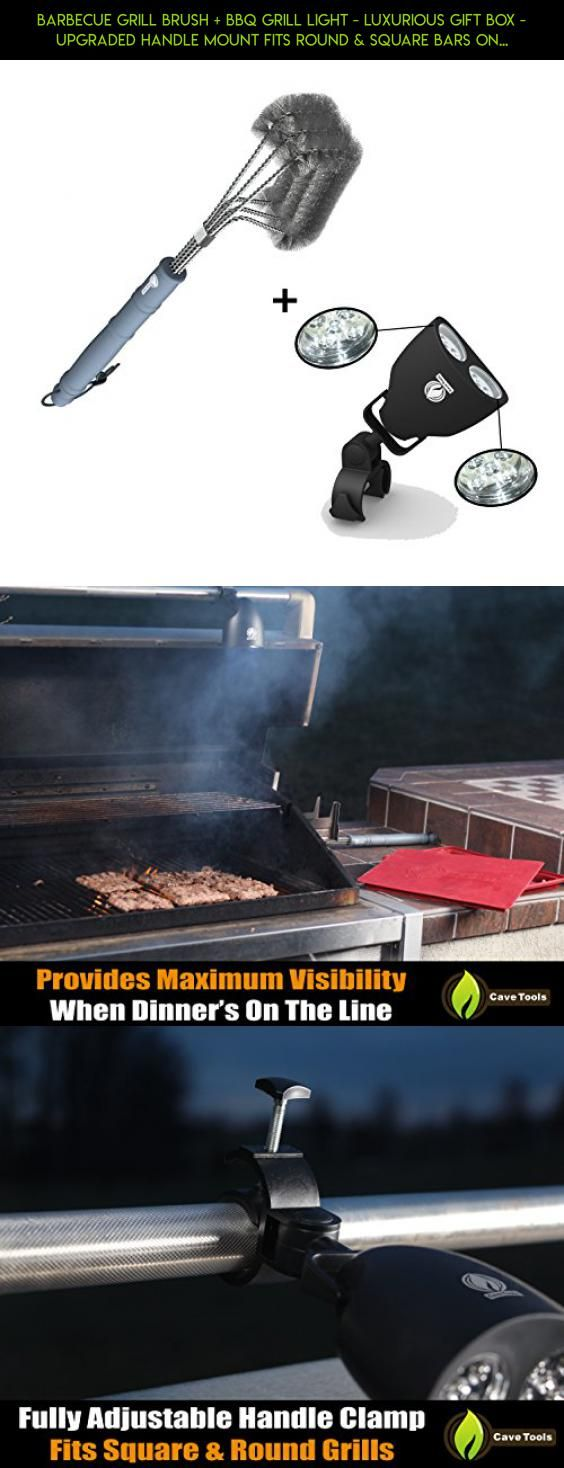 Barbecue Grill Brush + BBQ Grill Light - LUXURIOUS GIFT BOX - Upgraded Handle Mount Fits Round & Square Bars on Weber & Big Green Egg Pits - 10 LED for Grilling at Night - Best Lighting Accessories #gadgets #kit #outdoor #big #products #pot #shopping #technology #fpv #tech #camera #racing #drone #cooking #plans #parts