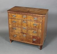 "Lot 1075 A Georgian mahogany chest with dentilled frieze, canted and fluted corners, fitted 4 long drawers with brass plate drop handles, raised on bracket feet 33""h x 34""w x 18""d, est £200-300"