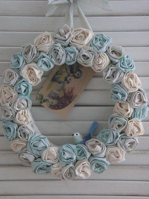 Cottage Rose Blue Ribbon Wreath | Flickr - Photo Sharing!