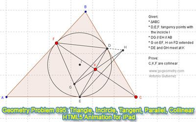 Dynamic Geometry Problem 895: Triangle, Incircle, Tangency Points, Parallel lines, Collinear Points. HTML5 Animation for Tablets. iPad, Nexus, Samsung.