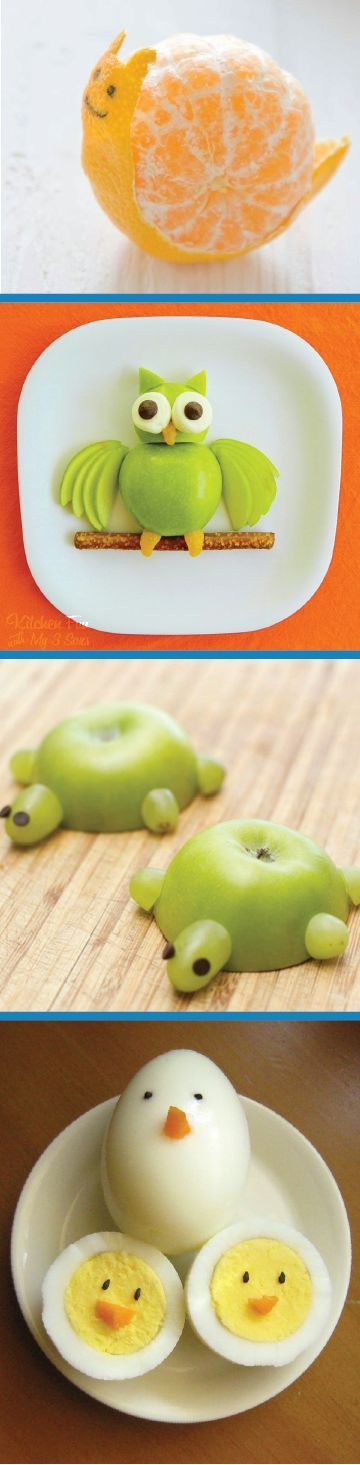 These 5 kid-friendly recipes are so creative and fun to make with your kids for an afternoon snack or a packed lunch for summer camp. See what other animals you can make out of ingredients like fresh fruit and pretzels!: