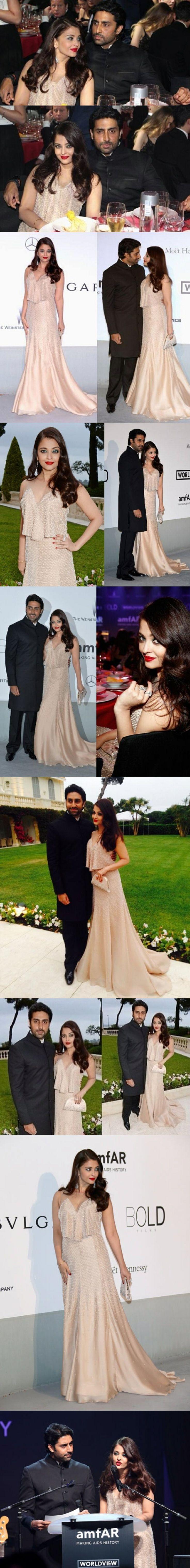 Cannes 2014: Aishwarya Rai Bachchan at amfAR gala with husband Abhishek.
