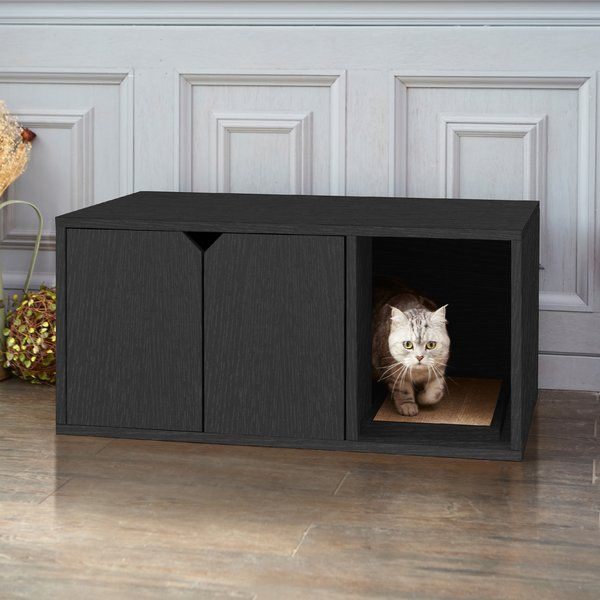 Don't you think it's time your cat went to the bathroom in style? They do and that's why Way Basics created this beautiful and modern looking litter box! A smart and attractive way to keep the litter hidden away. This sleek black cat litter box is functional for the cat and looks great in any room, they wouldn't be surprised if people didn't realize there was cat's litter in there. It contains two easy to open doors that your cat can walk in and walk out with ease. There is a large opening…