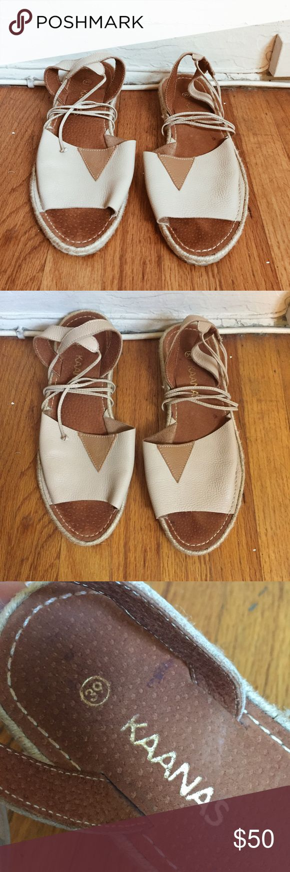 Leather Lace Up Nude Espadrille Sandals Not free people, just put for exposure. Brand new, lightly worn. Great condition. Ropes wrap about twice. Very comfortable, soft leather. Super feminine. Pinkish nude color Free People Shoes Espadrilles
