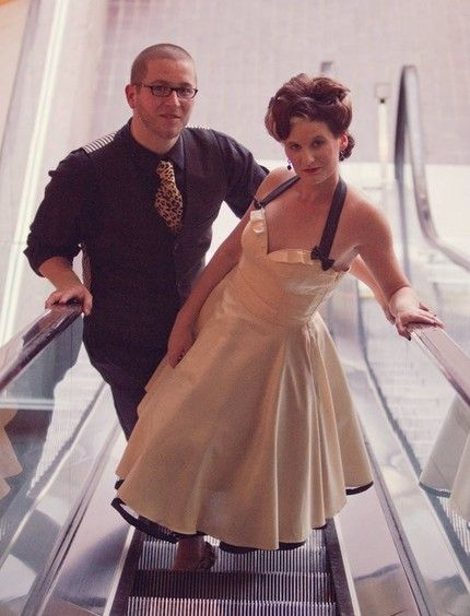 Vintage Rockabilly Wedding Dress by Viola Vintage | Tattooed Brides | Allebach Photography (love his suit with a different tie)