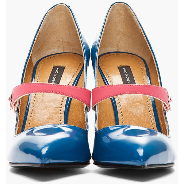 MARC JACOBS Patent Blue Pink-Strapped Heels ($625) ❤ liked on Polyvore