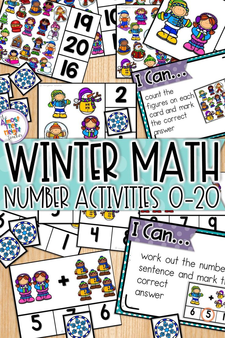 Learning numbers 0-20 with the winter math pack.  Four math center activities including reading and matching numbers in 6 ways, 1 to 1 counting, clip activities, number order and addition within 10.  Check out the pack to see everything that is included #mathcenters #wintermath #numbersense #counting #tensframe #numberorder #addition #additionwithin10 #teacherspayteachers