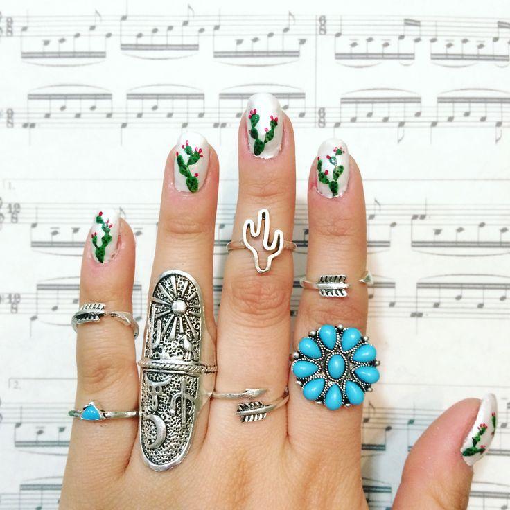 Cactus nails Boho nails Cactus ring