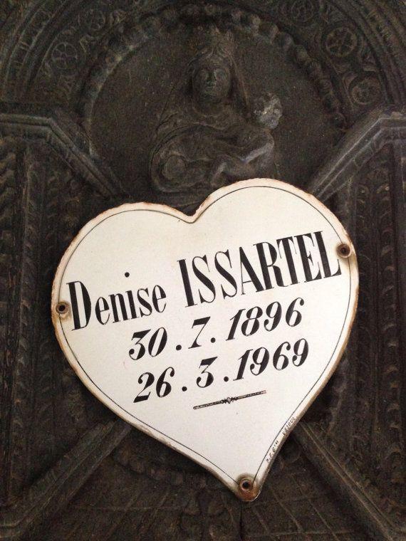 Vintage Français commémorative, plaque funéraire en forme de coeur Français