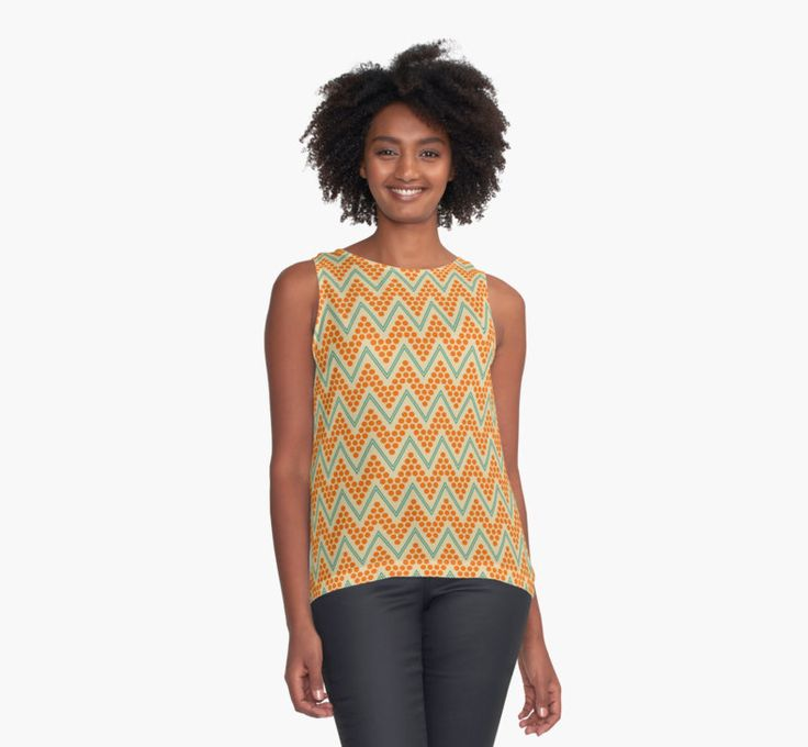Geometric chevron pattern by LunaPrincino #lunaprincino #redbubble #print #prints #art #design #designer #graphic #clothes #for #women #apparel #shopping #tank #top #fashion #style #pattern #chevron #zigzag #geometric #geometry #ornament #lines #dots #trendy #beige #orange #teal #turquoise