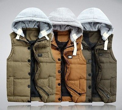 Men's Winter Slim Thicken Coats Puffer Cotton Zip Hooded Warm Vest Down Jackets