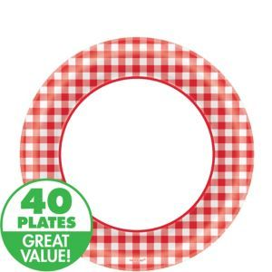 Picnic Party Red Gingham Lunch Plates 40 ct, $2.99 at Party City