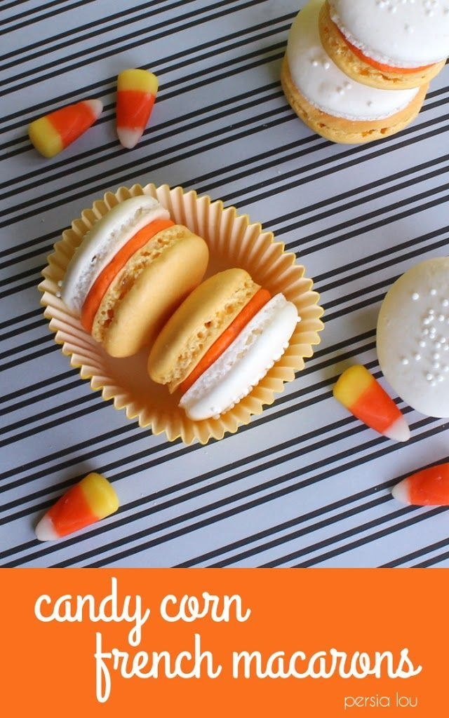 Candy Corn Colored French Macarons: