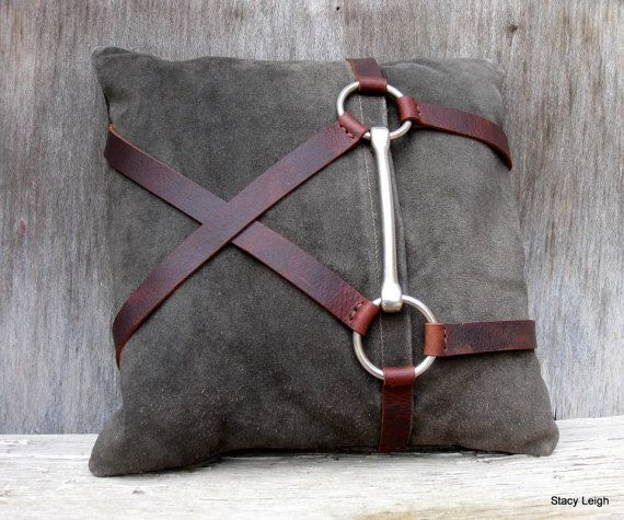 Vintage leather pillow in a dark greenish brown color. By Stacy Leigh