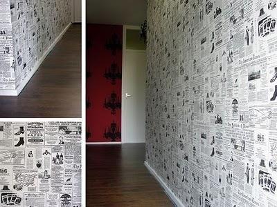 Empapelar la pared con papel de periódico