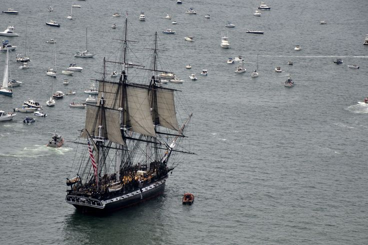 BOSTON (Aug. 19, 2012) USS Constitution sets sail for the first time since 1997 during an underway demonstration commemorating Guerriere Day. Constitution is the world's oldest commissioned warship afloat and defended the sea lanes against threat from 1797 to 1855. (U.S. Navy photo by Mass Communication Specialist 2nd Class Kathryn E. Macdonald/Released)