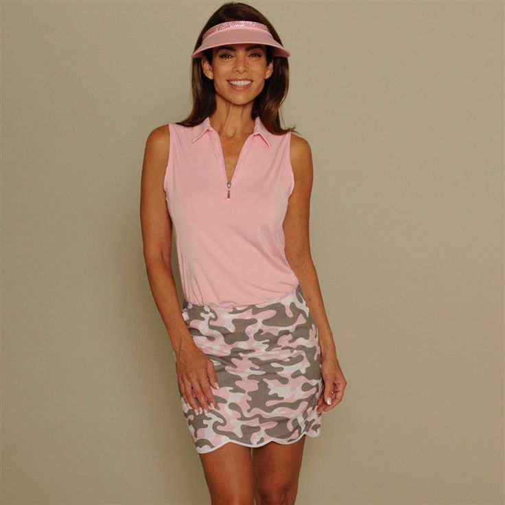 Feminine and fearless, the Golftini Camo Incognito Golf Skort is designed for the fashionable golfer who isn't afraid to stand out on the golf course. This is a flat-front skort with scalloped hem and a comfortable stretch cotton fabric. #golf4her.com #S17 #GOOTD
