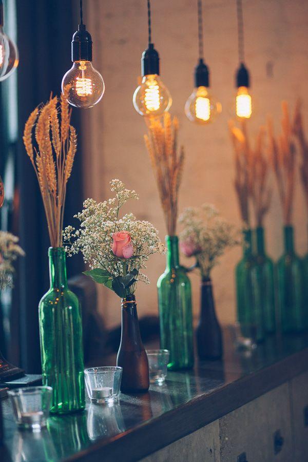 Eclectic London Pub Wedding Bottle Flowers Wheat http://storyandcolour.co.uk/