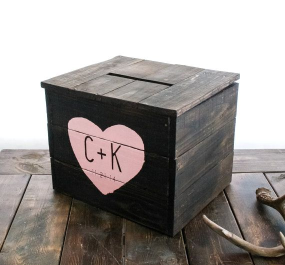 Rustic Wedding Card Box by pixelsandwood on Etsy