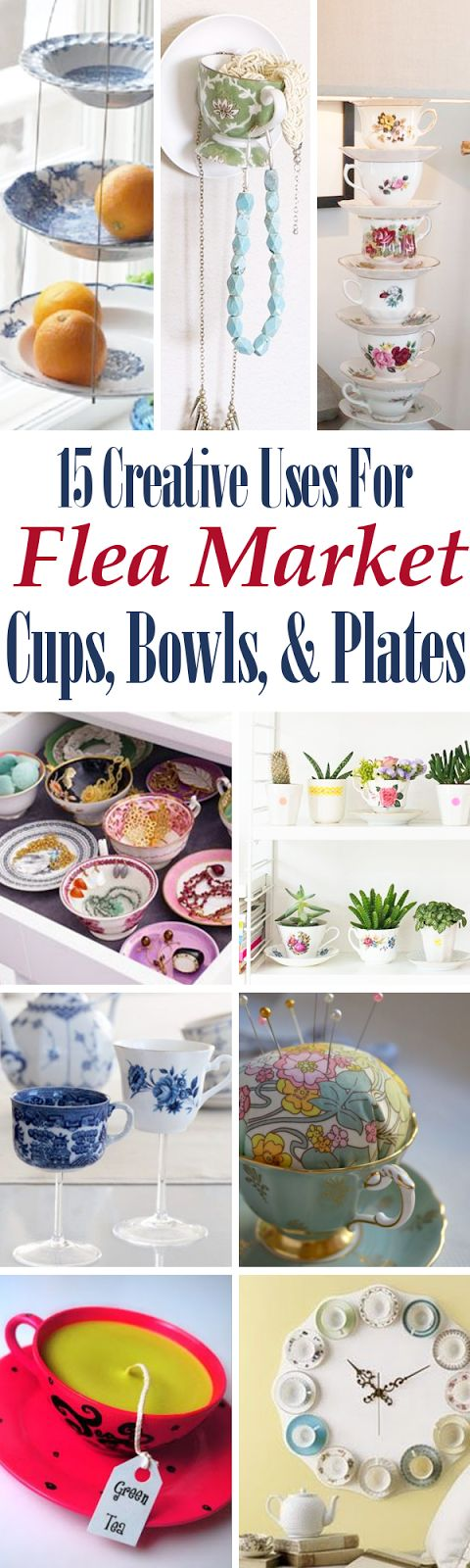 15 Creative Uses For Flea Market Cups, Bowls, & Plates