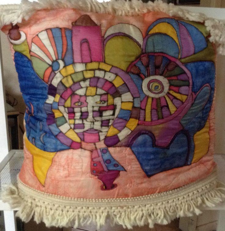 Hand painted original design silk cushion