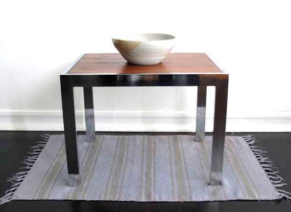 Vintage Metal Side Table With Chrome Legs   Vintage Mid Century End Table    Milo Baughman