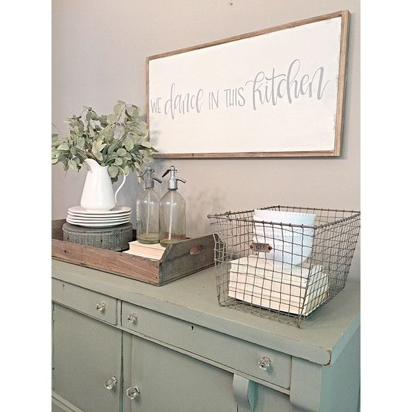 We Dance in This Kitchen Farmhouse Fixer Upper Style Wood Sign Hand... ($100) ❤ liked on Polyvore featuring home, home decor, wall art, home & living, home décor, silver, reclaimed wood sign, country wooden signs, grey wall art and wooden word signs